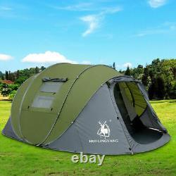 5 Personnes Pop Up Tent Camping Festival Randonnée Shelter Famille Tente Portable Vert