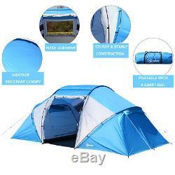 6 Personne Compartiment Tente Portable Grande Famille Camping Étanche Easy Set Up