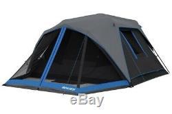 6 Personnes Tente Avec Led Lighted Polonais Instantanée Noir Camping Familial Randonnée Chalet Nouveau