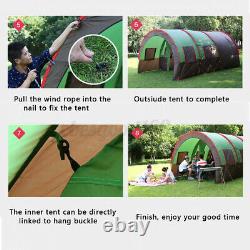 8-10 Homme Grandes Tentes Familiales Étanche Tunnel Camouflage Camping Colonne Tente