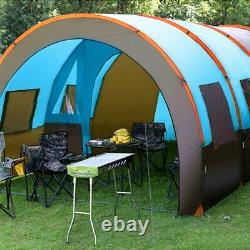 8-10 Personne Famille Grande Double Couche Tunnel Camping Tente Abri Imperméable À L'eau