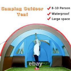 8-10 Personnes Grande Double Couche Extérieure Tente Camping Tunnel Famille Tente Voyage