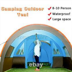 8-10 Tente Familiale Imperméable À L'eau Jardin De Camping Extérieur Garden Party Grande Salle Randonnée + Tapis