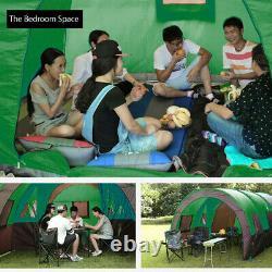 8-10 Tentes Familiales Green Waterproof Outdoor Camping Party Garden Grande Chambre + Mat
