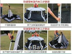 Automatique Camping En Plein Air Tente Hexagonal Pôle Aluminium 3-4 Personnes 245x245x165cm