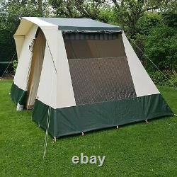Cabanon Elzas, Cream & Green, Tente De Cadre Classique 4 Personnes 4,2 Mètres Sur 2,5 Mètres