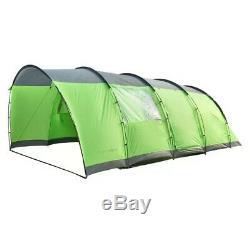 Charles Bentley 6 Personne Camping Tunnel Tente Verte Avec Bordure Grise