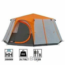 Coleman Cortes Octagon 8 Personne Famille Tente Orange Glamping Camping De Luxe Grand
