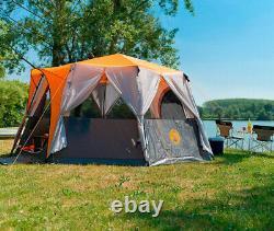 Coleman Cortes Octogone 8 Famille Ou Tente Glamping 360° Vue Panoramique Orange Gris