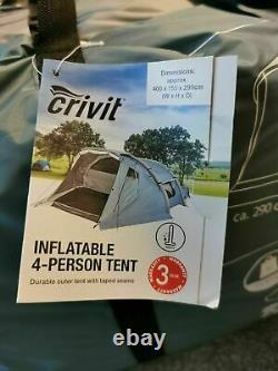 Crivit 4 Person Family Tent Four Man Inflatable Tent Easy Assembler Bnib