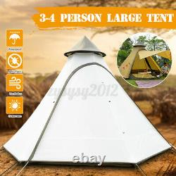 Énorme Imperméable À L'eau Double-layer Family Indian Style Teepee Camping Tent