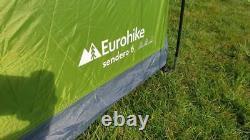Eurohike Sendero 6 Six Berth Man Personne Famille Camping Tunnel Tente Grand Vert