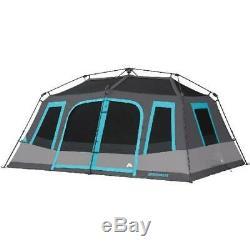 Famille, 10 Personnes Tente Instantanée Chalet Noir Repos Blackout De Windows Camping En Plein Air