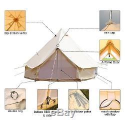Famille De Coton De Tentes De Toile De Bell De 6m / 19.7ft La Grande Camping Imperméable Glamping Yourte