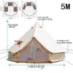 Glamping Toile De Coton De Bell Tente 5m Imperméable Quatre Saisons Camping Familial Yourtes