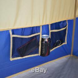 Grand 14 Personne Camp Chalet Tente Avec 4 Chambres Abri Camping En Plein Air Tentes Bleu