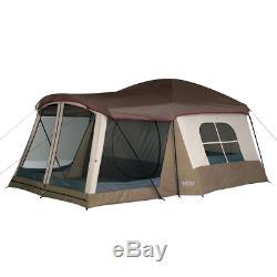 Grand 8 Personne Écran Chambre Extérieure Tente De Camping Brown En Fibre De Verre Cadre En Acier