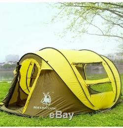 Grand Automatique Tente Familiale 3-4 Personnes Camping Lancer Pop Up Deuxième Ouvert Tente