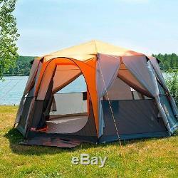 Grand Camping 8 Personne Tente Grand Auvent Extérieur Famille Vacances Été Grande
