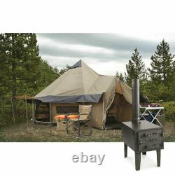 Grand Paquet De Tente De Pourvoirie De Camp De Base De 14' Avec Le Poêle À Bois, Les Auvents, Et Le Cric De Poêle