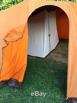 Grand Vintage Retro Canvas Cadre Tente. 1970. Orange Et Brown. Made By Lichfield