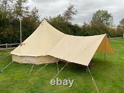 Grande Tente Bell Toile De Coton Auvent Avec Pole 400cm X 260cm
