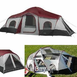 Grande Tente Cabine 3 Pièces Pour 10 Personnes Avec Grand Auvent De Soleil Pour Fenêtres Camping Extérieur