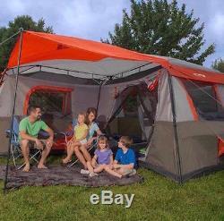 Grande Tente De Camping 12 Personnes 3 Chambres Cabane De Randonnée Familiale Chasse Sentier Gris Rouge