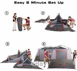 Grande Tente De Camping 12 Personnes 3 Chambres Cabine Instantanée Sentier Extérieur Chasse Chasse