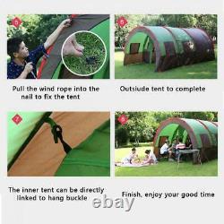 Grande Tente De Camping 8-10 Personnes Tentes De Tunnel Familial Imperméable Tente De Colonne Bleue