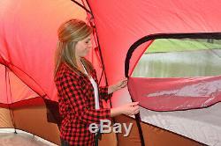 Grande Tente De Camping En Plein Air, 10 Personnes 3 Pièces Cabine Porche De L'écran Imperméable Rouge