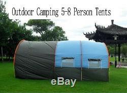 Grande Tente De Camping Imperméable En Toile En Fibre De Verre 5-8 Personnes Tunnel Famille