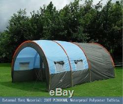 Grande Tente De Camping Tunnel De Famille De La Fibre De Verre De Toile Imperméable 5-8