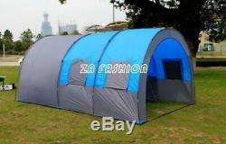 Grande Tente Double Couche Extérieure Tunnel Camping 8-10 Personnes Family Party Tente