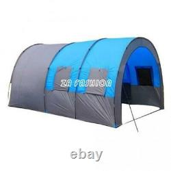 Grande Tente En Plein Air Tunnel Double Couche Camping 8-10 Personnes Famille Party Tente
