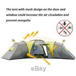 Grande Tente Familiale Premium Auvent Extérieur Pour 9 Personnes, 3 Chambres Et Camping, Étanche