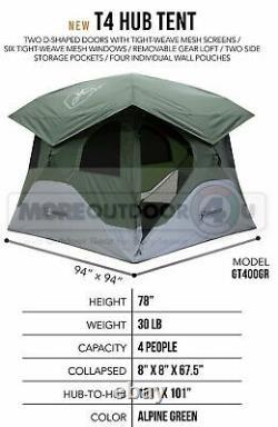 Gt400gr Nouveau 4 Personne Gazelle T4 Hub Tente Alpine Green Randonnée Camping