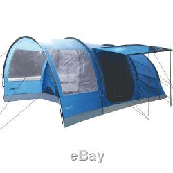 Highlander Oak 4 Personnes, Grande Famille, Camping, Tente, Tunnel De Vacances, Bleu Impérial