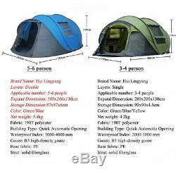 Jeter Pop Up Tente 5-6 Personne Couches Automatique Double Grande Famille Camping Randonnée