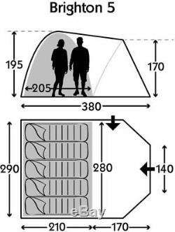 Kampa Brighton 5 Tente Gray Man Modèle 2019