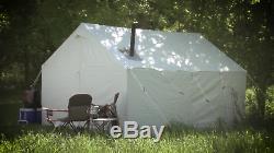 Large 10x12 Toile Mur De Tente Cadre Cadre Tente Poêle À Linge Ensemble Cabine De Camp Kit Nouveau