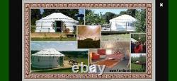 Mongol Yurt Blanc 6m De Diamètre Avec Design Vert Brand New