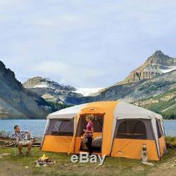 Noyau 12 Personne Camping Double Les Portes D'entrée Et Une Grande Fenêtre De Cabine Tente Orange