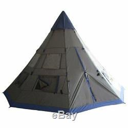 Outsunny Grande 6 Personnes Tente Tipi Camping Métal Avec Météo Protection