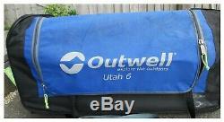 Outwell Utah 6 Tunnel Tent Avec Grand Porche Latéral, Surface Habitable De Bonne Taille