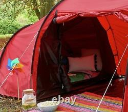 Proaction 6 Homme 3 Salle Tunnel Camping Tente Rouge
