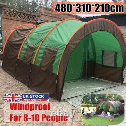 Royaume-uni 10 Personnes Large Waterproof Group Family Festival Camping Outdoor Tunnel Tent