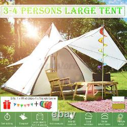 Royaume-uni Waterproof Camping Family Tent Indian Style Pyramid Tipi Winter Camp Tents
