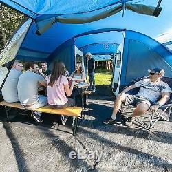 Skandika Lovund 6 Man Family Tent Sun Canopy Large Windows Poteaux En Acier Bleu Nouveau