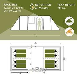 Skandika Ouragan 8 Personne / Family Man Tunnel Tente Grand Groupe 5000mm Colonne Nouveau